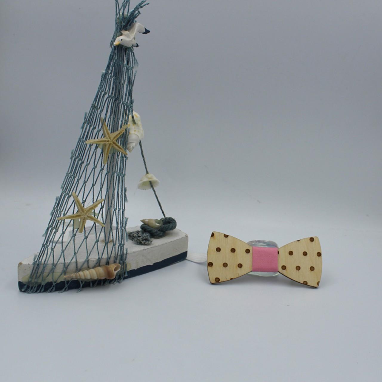 Ξύλινο Βρεφικό Παπιγιόν Με Ροζ Κόμπο 8 - 36 Μηνών - 4223