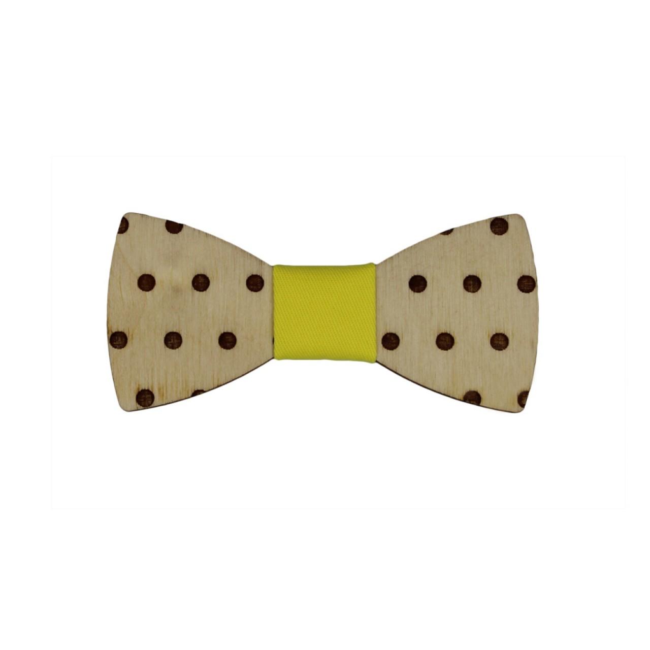 Ξύλινο Βρεφικό Παπιγιόν Με Κίτρινο Κόμπο 8 - 36 Μηνών - 4222