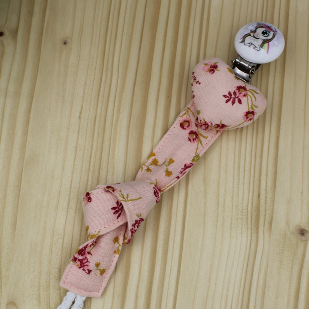 Χειροποίητο Κλιπ Πιπίλας Rose Floral Μουσελίνα Με Κλιπ Μικρό Πόνυ