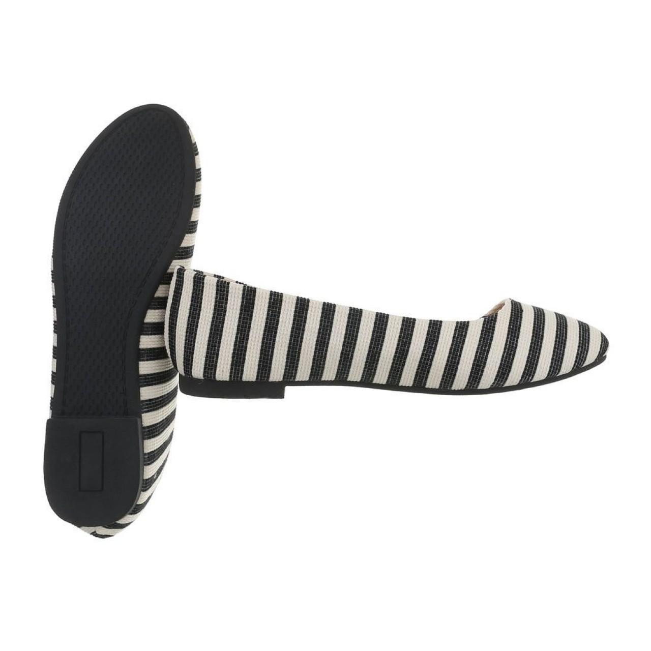 Γυναικεία Παπούτσια Μπαλαρίνα Ριγέ Ασπρόμαυρο - 4064