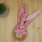 Μασητικό Οδοντοφυΐας Με Ξύλινο Κρίκο Και Αυτιά Κουνελιού - Pink Flower